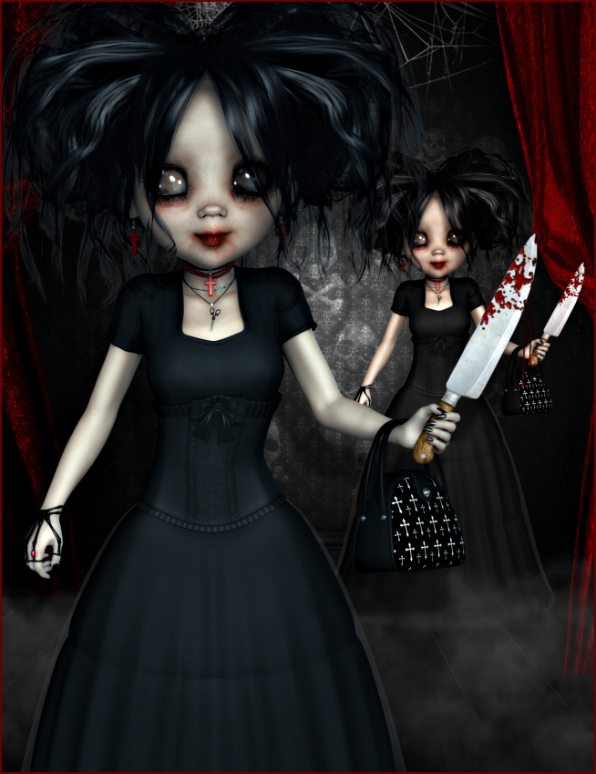 Creepy Little Goth Doll Graphics 1