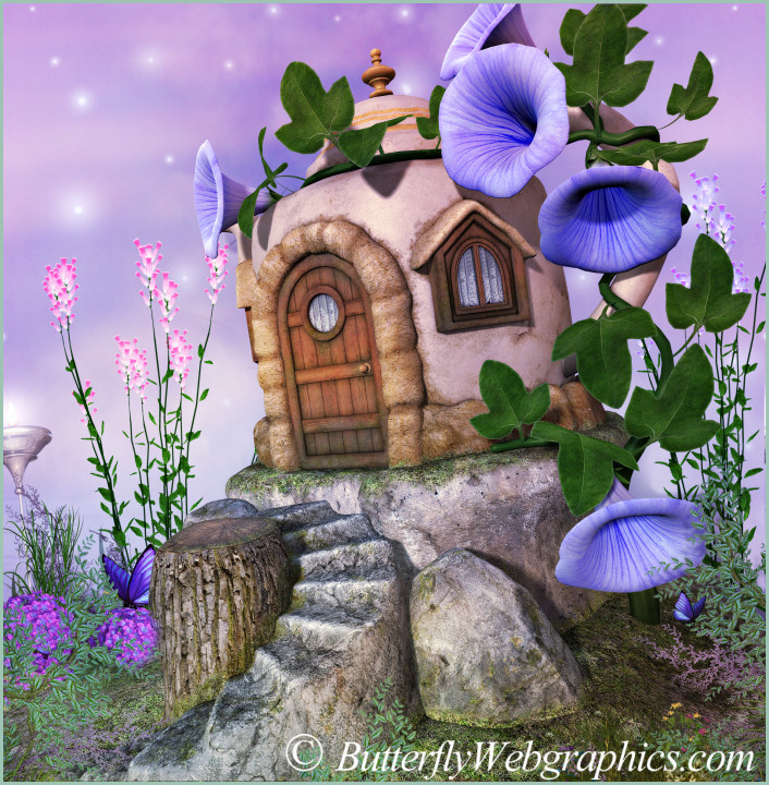Fairy Tea House Graphics, adorable little cottages.
