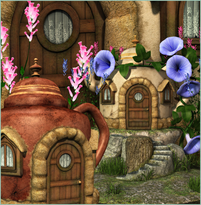 Fairy Teapot House Graphics, adorable little cottages.