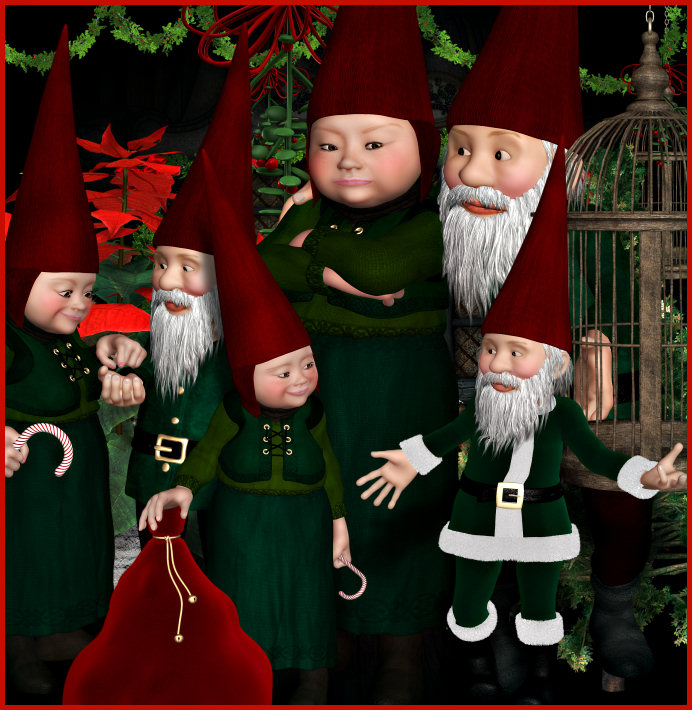 Adorable Gnome Christmas Cottage--Character and Background Package Graphics
