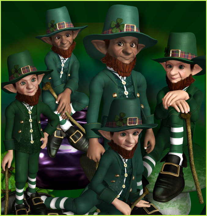 Leprechaun Gold Graphics, Irish characters for Saint Patrick's Day.