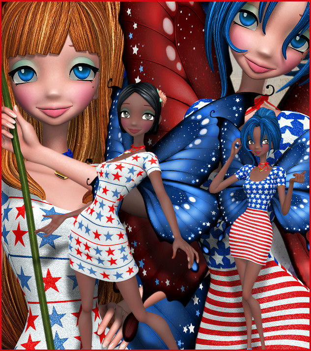 Patriotic Star Fairy Graphics, a lovely USA fae for Memorial Day and Independence Day.