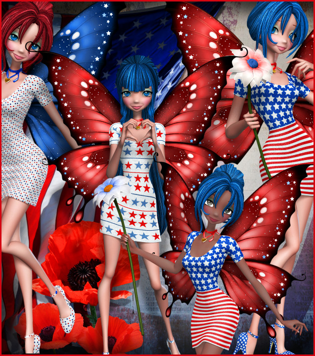 Patriotic Star Fairy Graphics, a lovely USA fae in celebration of the USA.