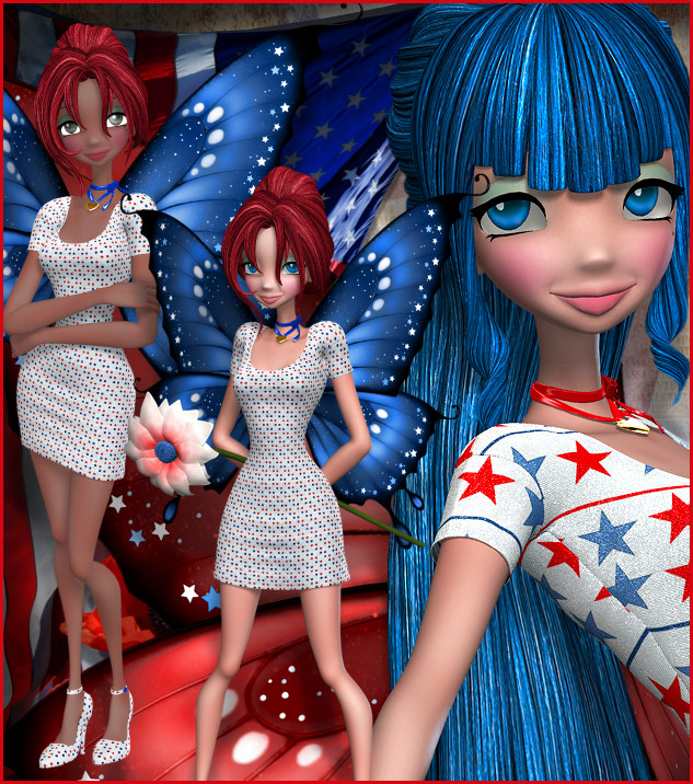 Patriotic Star Fairy Graphics, a lovely USA fairy in celebration of the United States.