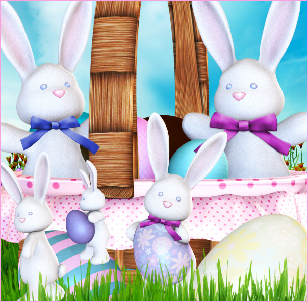 Bunny baskets Easter and spring Tubes clipart