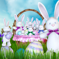 Cute Easter Kids with bunny baskets!