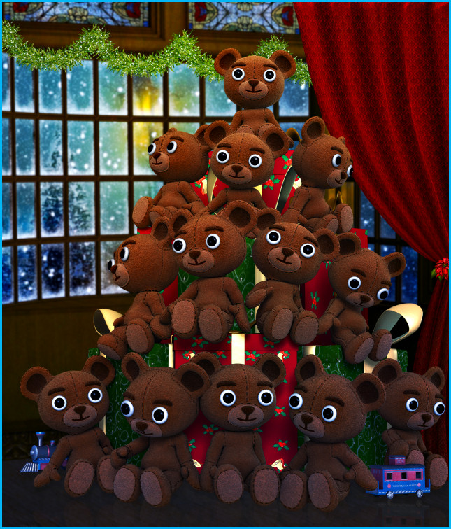 Christmas Bear Tubes. Royalty free Holiday stock images for commercial use