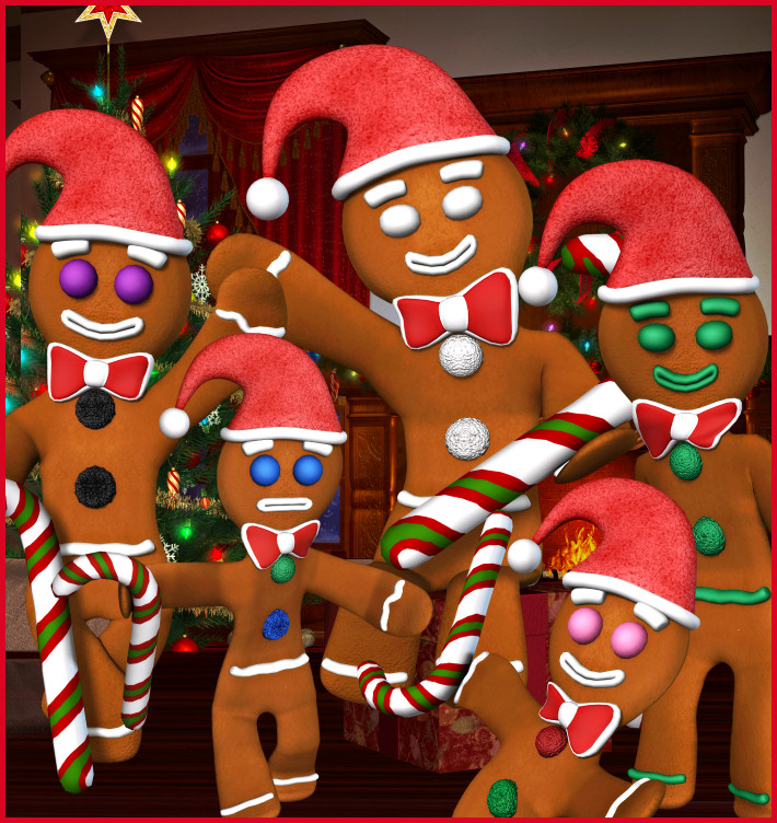 Dancing Gingerbread Men Graphics