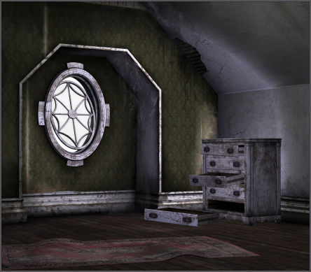 The Dark Room, horror backgrounds and furniture tubes