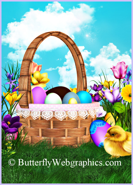 Easter Bunny Backgrounds and Easter Basket tubes