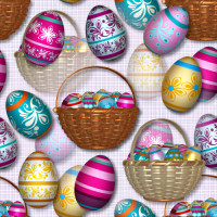 Easter eggs and baskets stock image package