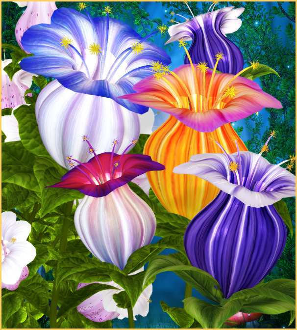 Fairy flowers and backgrounds
