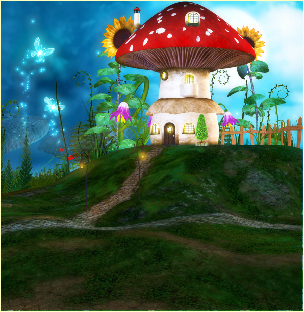 Fairy Mushroom House graphics and backgrounds