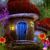 Fairy mushroom house tube and background package