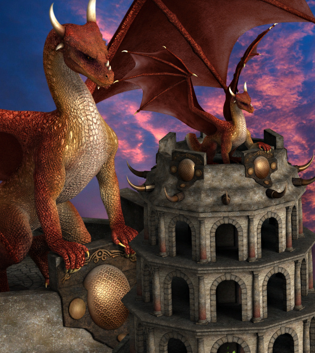 Fantasy Dragon Tower Graphics