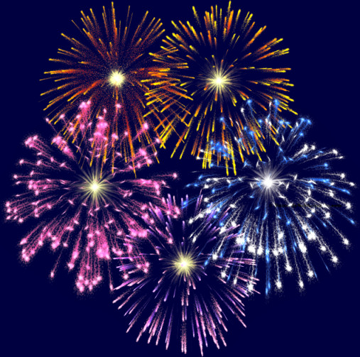The fireworks clip art above has been reduced 50%.