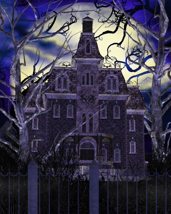 The Haunted House image in the scene above has been greatly reduced.