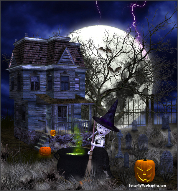 PSP tube download. Halloween Haunted House and cemetery clipart ...