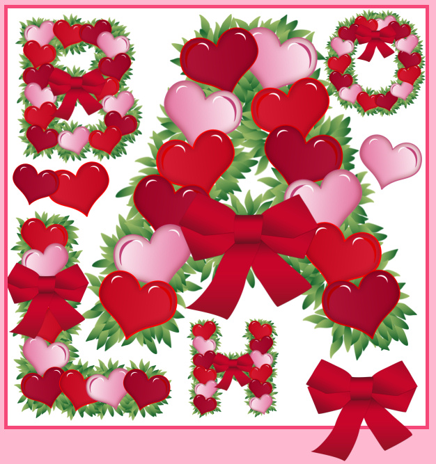 valentine heart graphic. Valentine Heart Alphabet