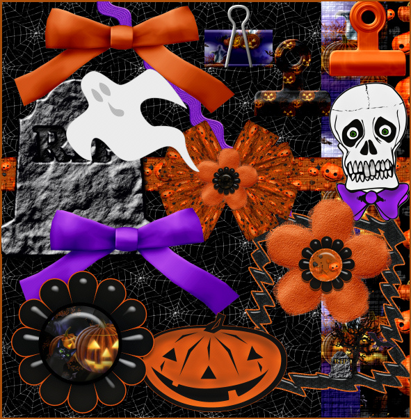 Halloween Scrapbook Kit, elements for digital scrapbooks