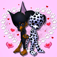 Cute Puppies in love Valentine PSP Tubes