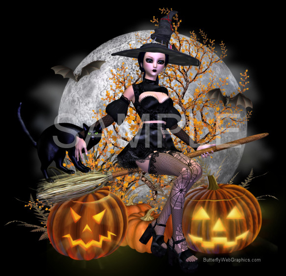 Sexy Goth Witch Graphics
