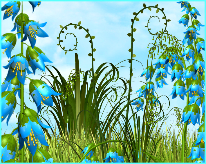 tree, grass, and flowers clipart