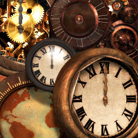 Steampunk Clock Graphics and Design Elements