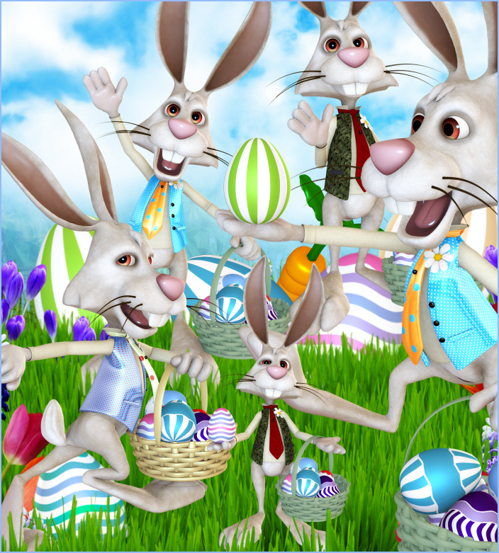 Wacky Rabbit Easter and spring Tubes clipart