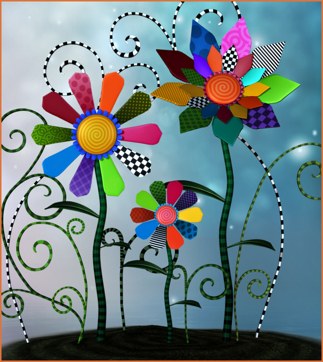 Whimsical Flower Garden Graphics