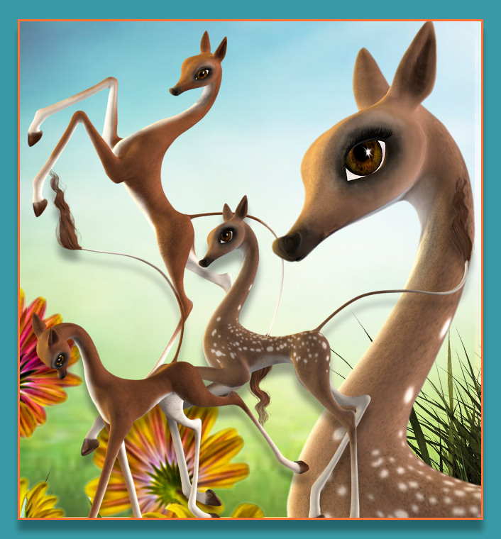 Spring Fantasy Deer Graphics