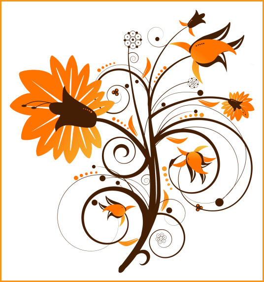 Autumn Floral Swirl Graphics