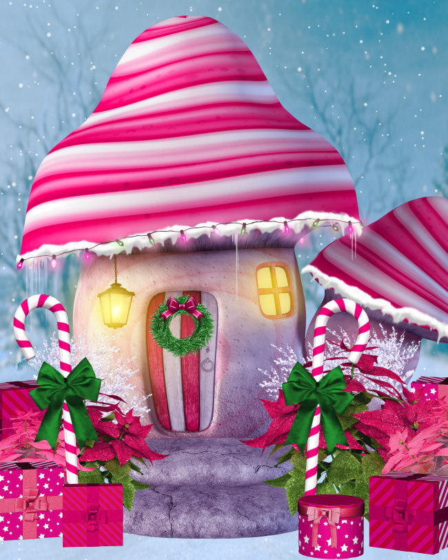 Christmas Mushroom House Graphics in the PNG format