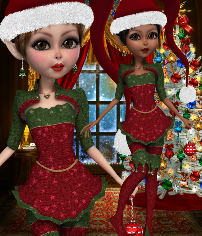 Merry Christmas Elf Graphics in the PNG format