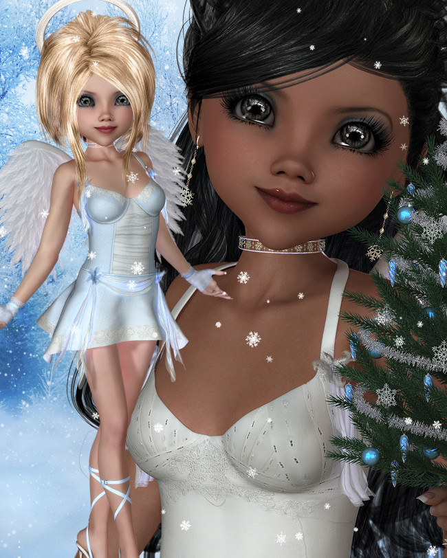 Christmas Blessing Angel Graphics in the PNG format