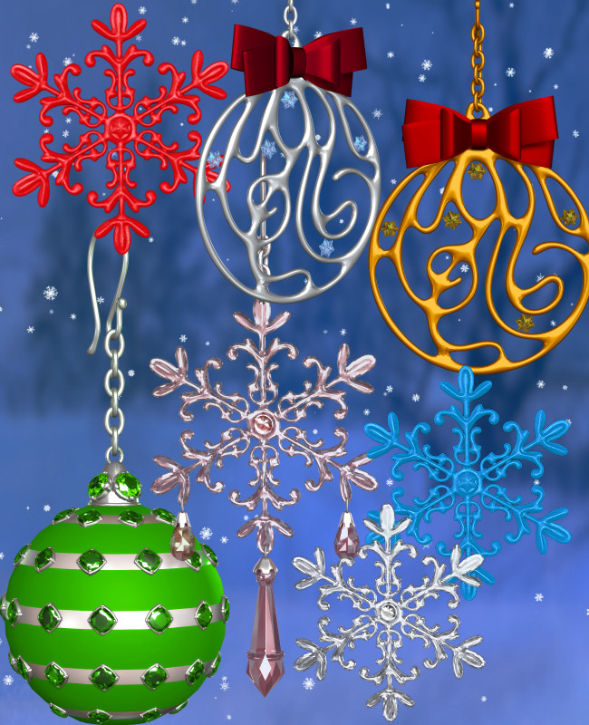 Christmas Jewel Graphics in the PNG format