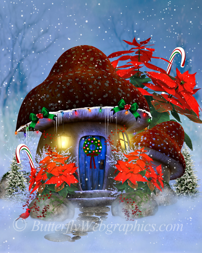 Christmas Mushroom House BackgroundsGraphics in the PNG format