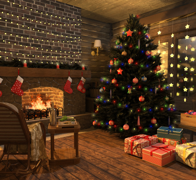 Christmas Scene Graphics and Christmas Trees in the PNG format