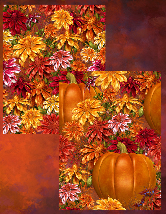 Fall Harvest Flower Graphics in the PNG format