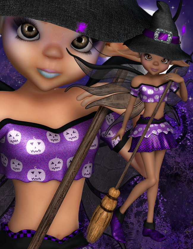 Halloween Fairy Witch Graphics in the PNG format