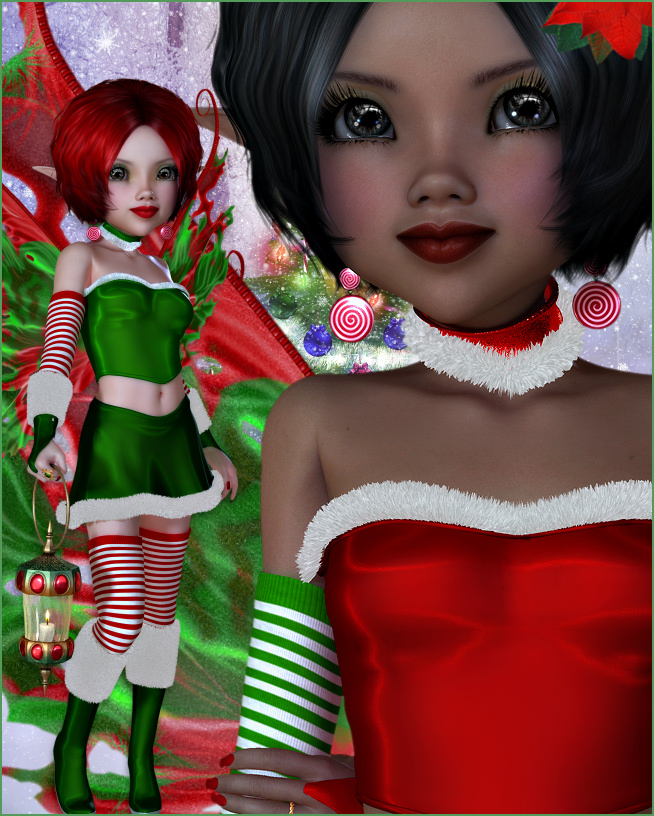 Holiday Candy Cane Fairy Graphics