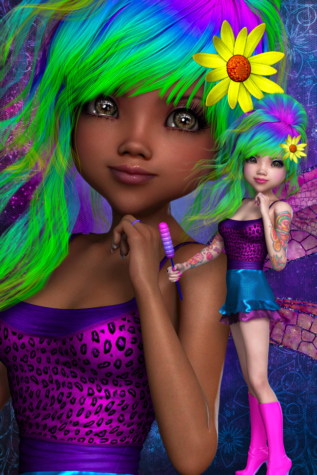 Neon candy Fairy Graphics