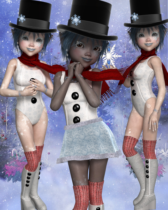 Snow Girl winter Graphics in the PNG format