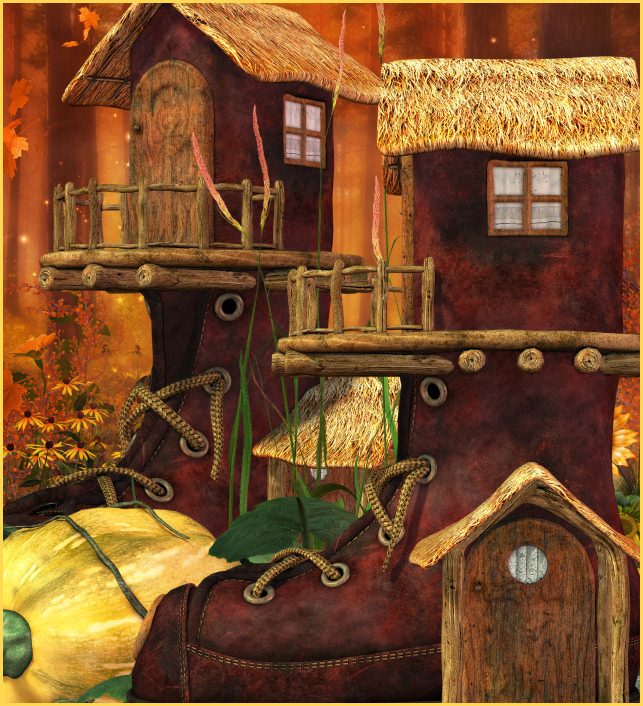 Autumn boothouse Graphics, adorable fantasy cottages