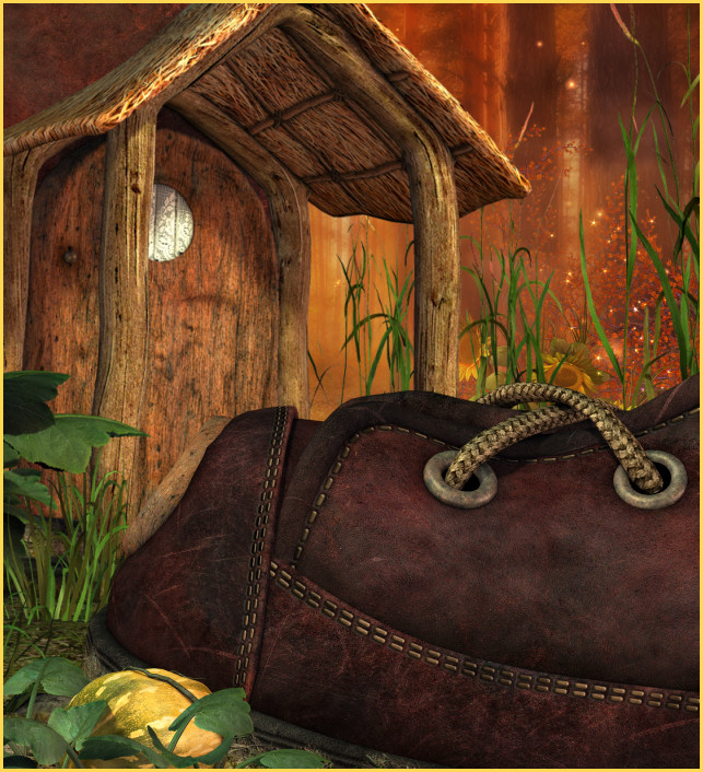 Autumn boothouse Graphics, adorable fantasy cottages.