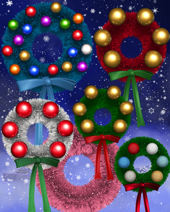 Bright Christmas Wreath Graphics in the PNG format