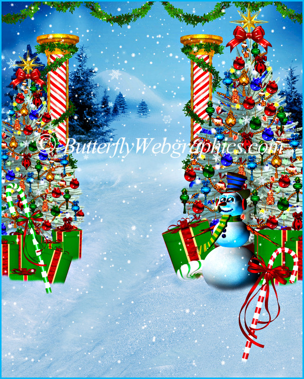 Christmas Snow scene background stock image