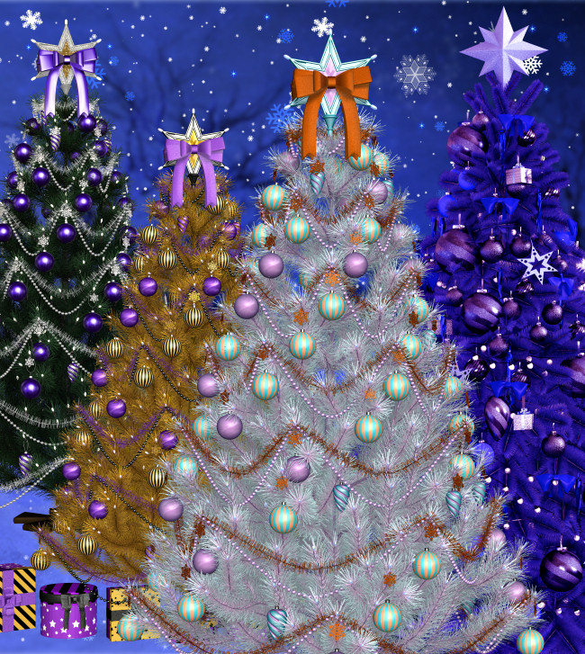Christmas Sparkle Trees. Unique Christmas Tree Graphics