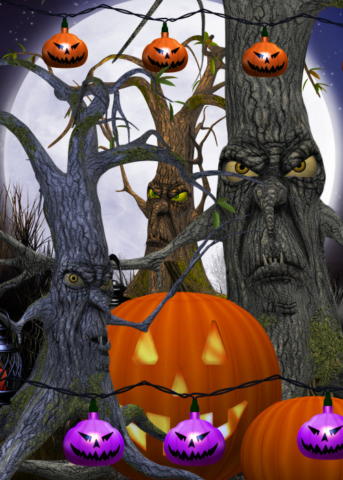 Creepy Tree tubes and Halloween backgrounds