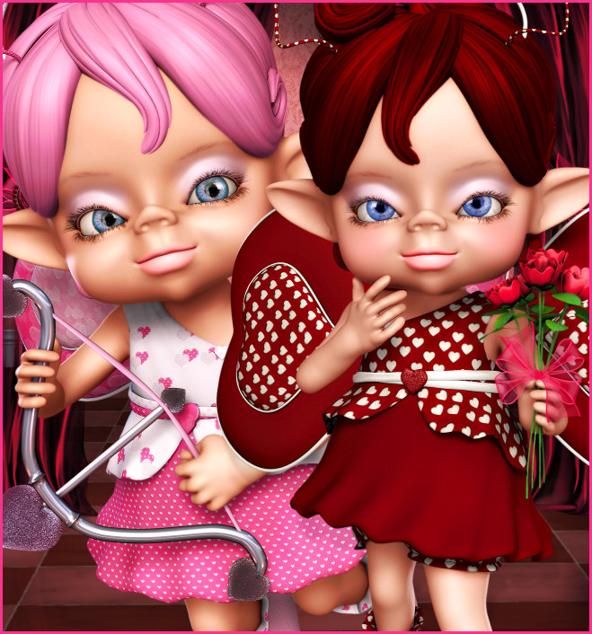 Cute Kit Cupids for your Valentine's day designs